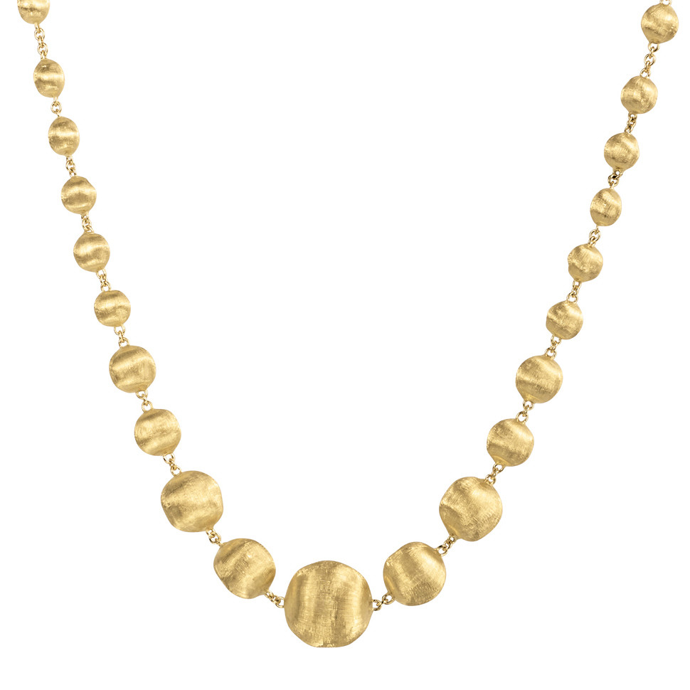 "18k Yellow Gold ""Africa"" Bead Necklace"