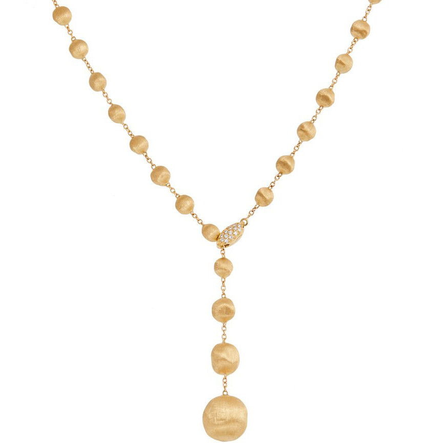 "18k Yellow Gold ""Africa"" Lariat Drop Necklace"