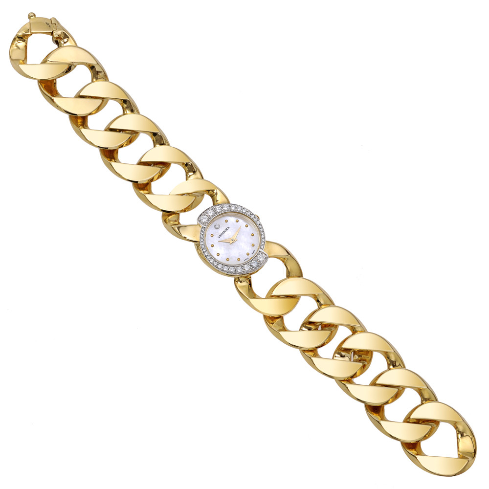 18k Gold & Diamond Curb-Link Bracelet Watch