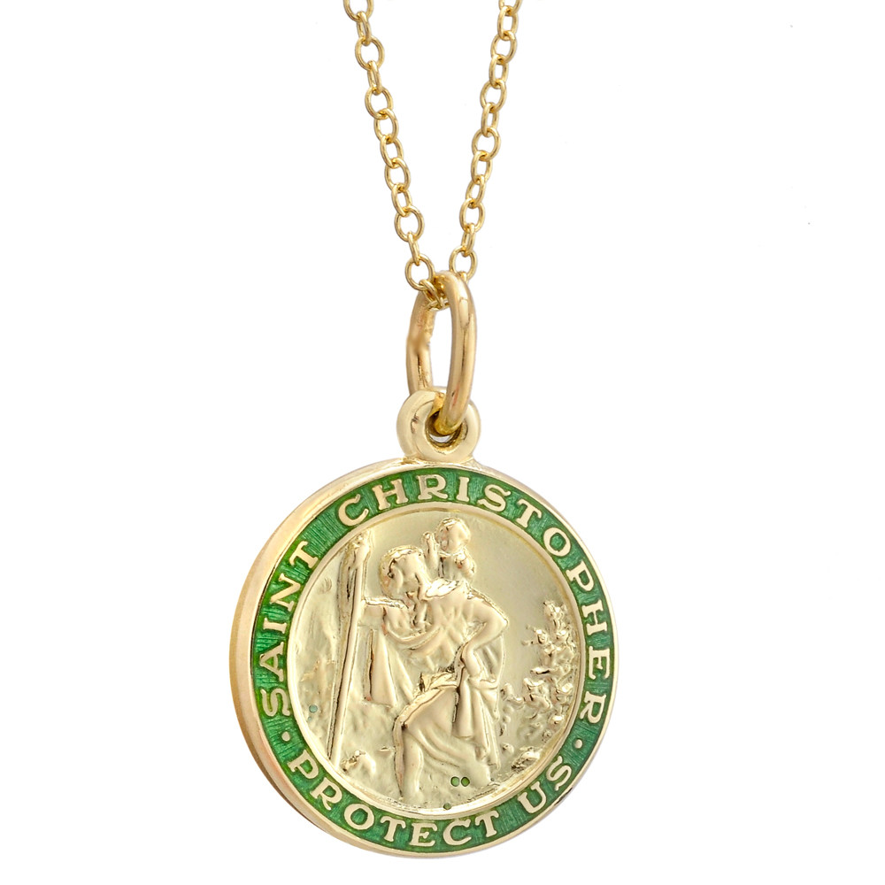 14k Gold St. Christopher Pendant with Green Enamel