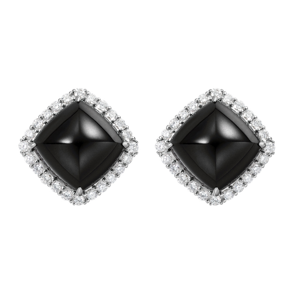 Black Jade & Diamond Earrings