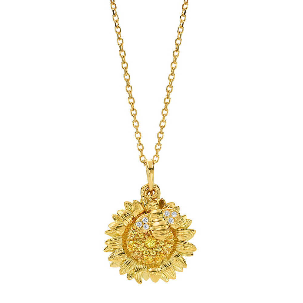 Yellow Sapphire & Diamond Sunflower & Bee Pendant
