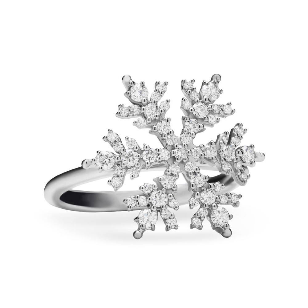 18k White Gold & Diamond Snowflake Ring