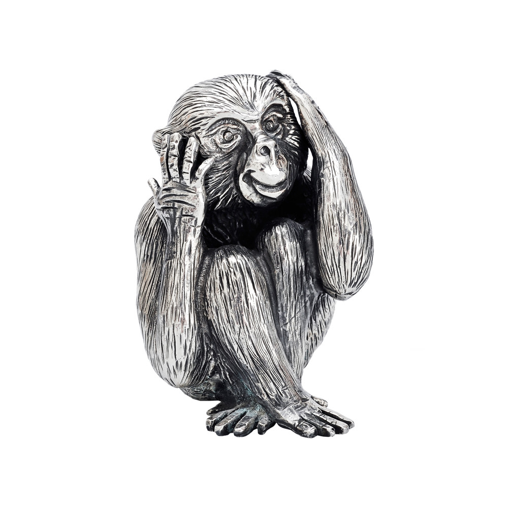 Small Silver 'Hear No Evil' Monkey Sculpture