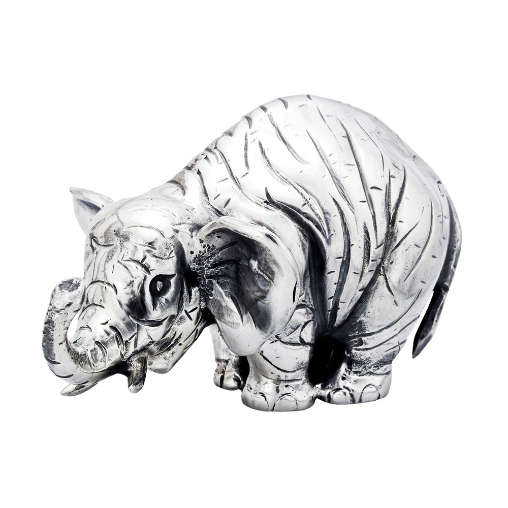 Small Silver Elephant Sculpture