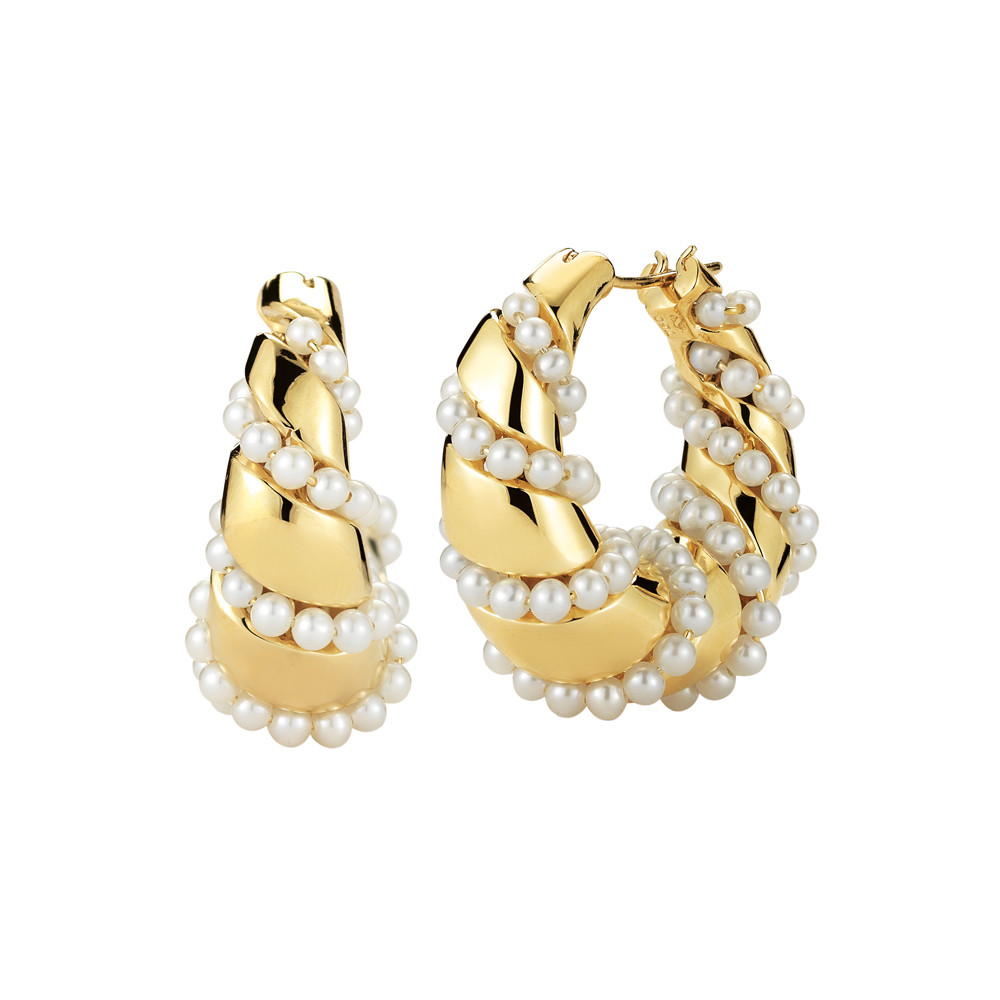 18k Gold Pearl-Wrapped Hoop Earrings