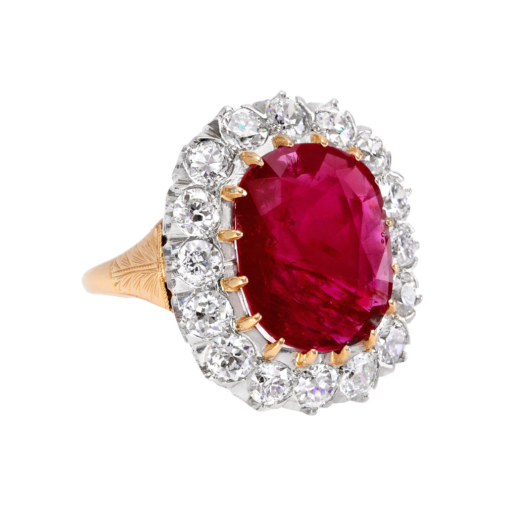 Custom Burma Ruby Ring: Estate 6.21 Carat Ruby & Diamond Cluster Ring