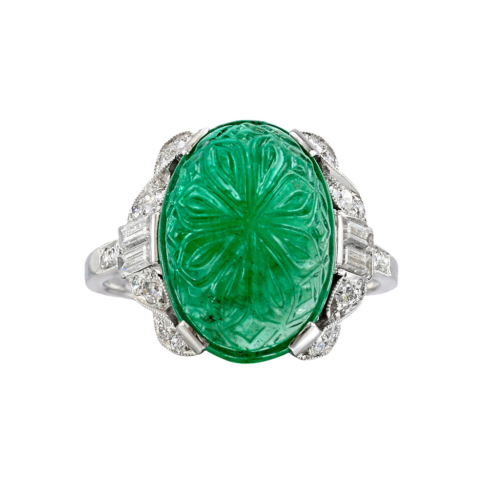 Estate Art Deco Carved Emerald Amp Diamond Ring Betteridge