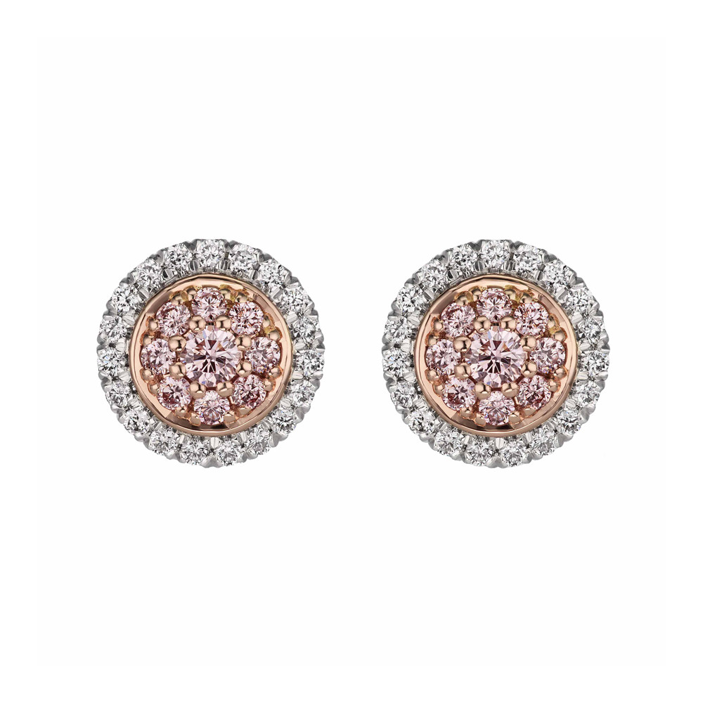 Pink & White Diamond Cluster Stud Earrings