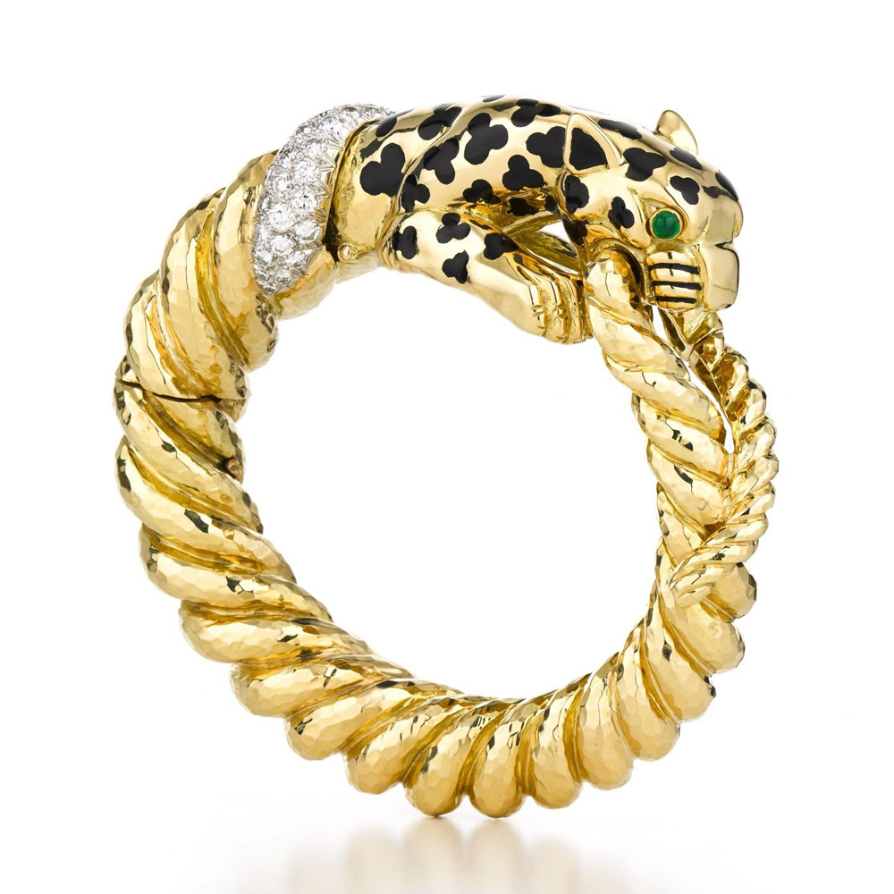 Black Enamel, Emerald, & Diamond Leopard Bangle Bracelet