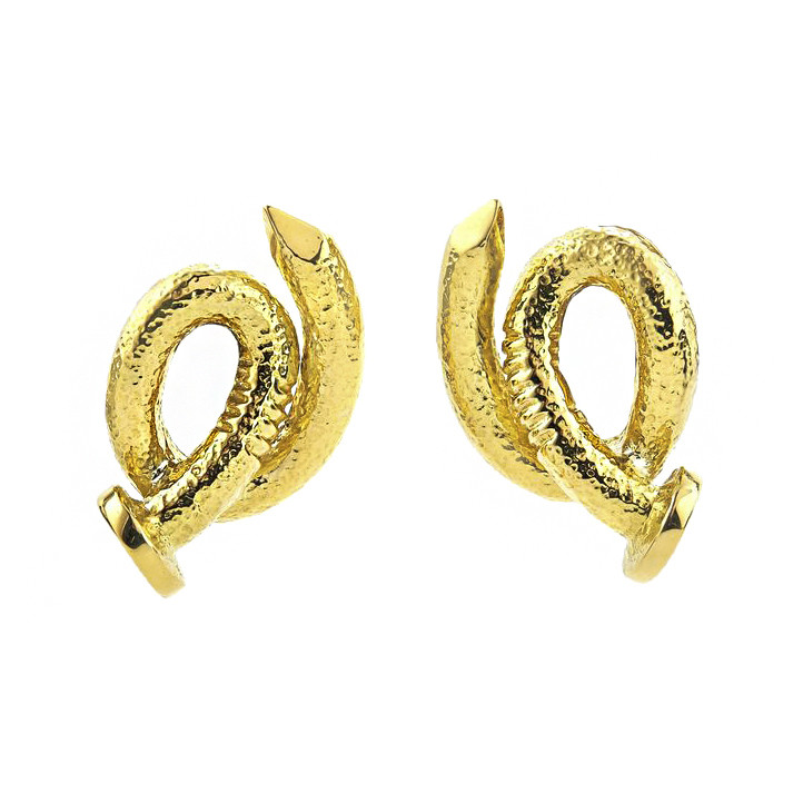 "Hammered 18k Yellow Gold ""Bent Nail"" Clip Earrings"