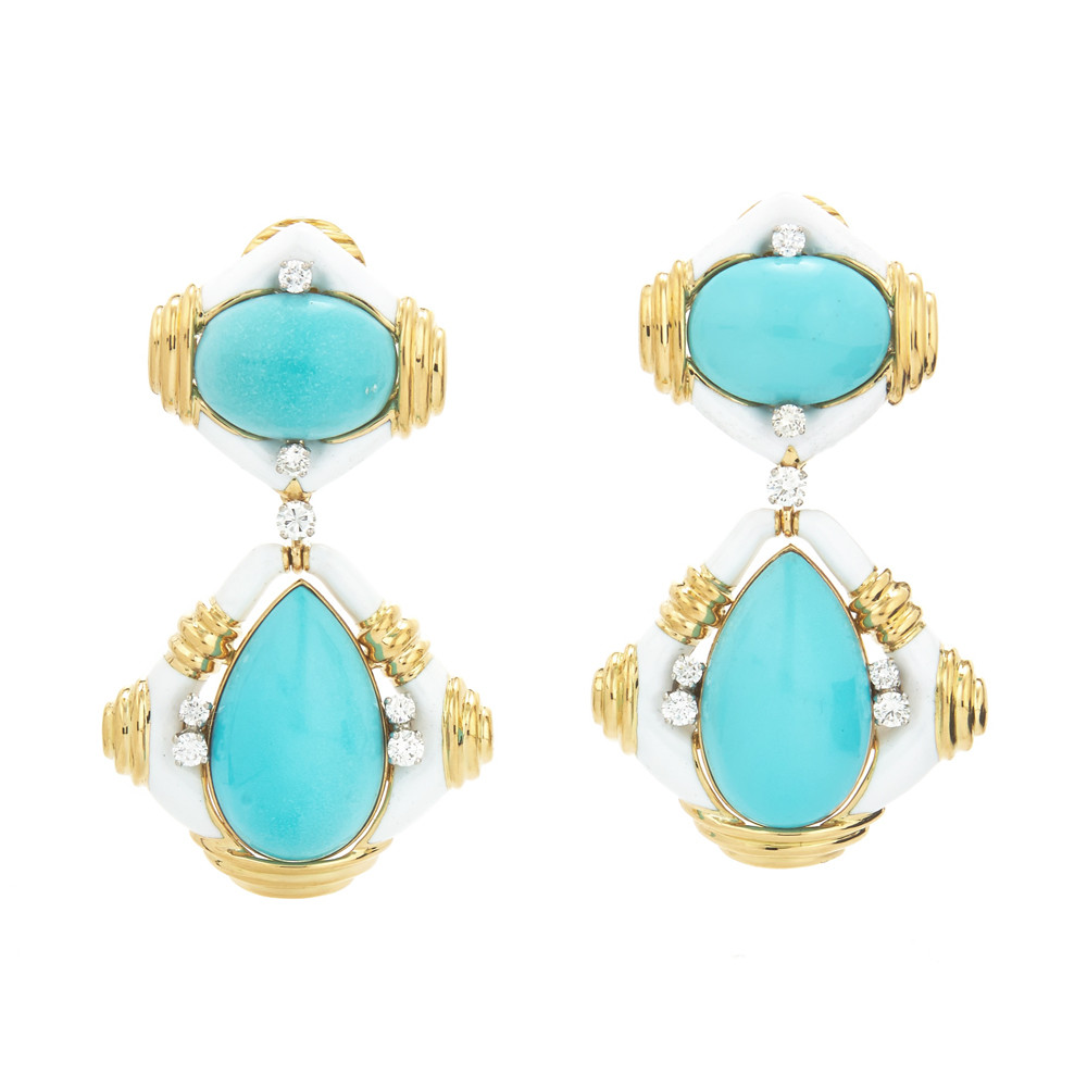 White Enamel, Turquoise & Diamond Drop Earrings