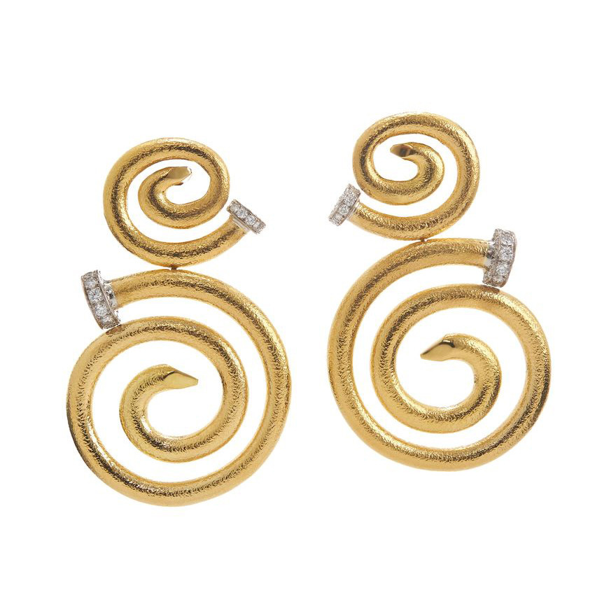 "18k Yellow Gold & Diamond ""Spiral Nail"" Earrings"