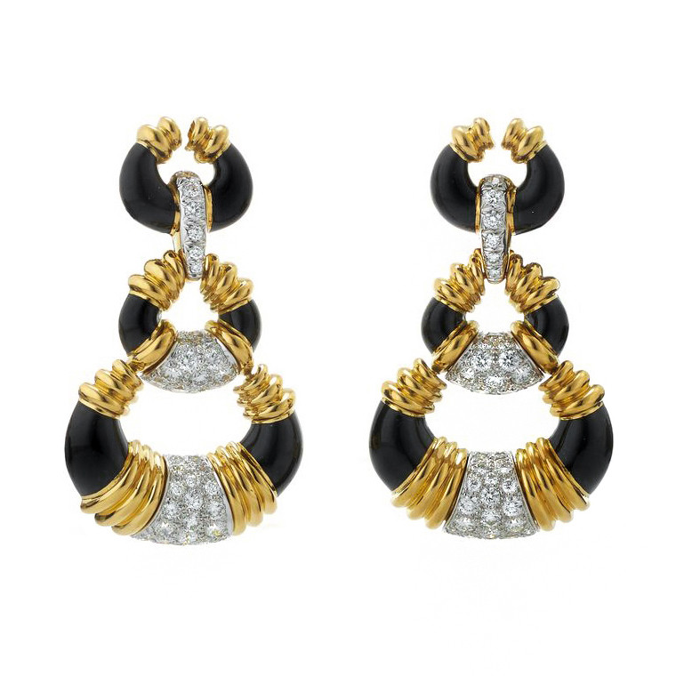 "18k Gold, Diamond, & Black Enamel ""Crescent"" Drop Earrings"