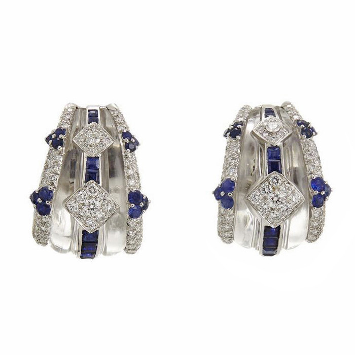 Rock Crystal, Sapphire, & Diamond Earrings
