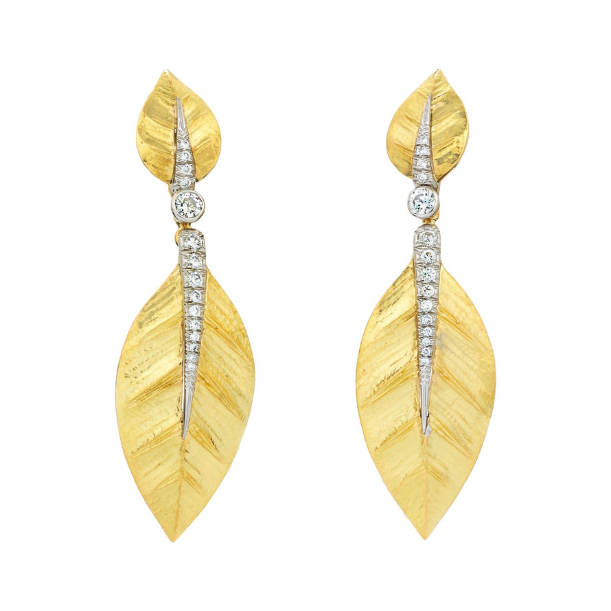 "18k Gold & Diamond ""Laurel Leaf"" Drop Earrings"