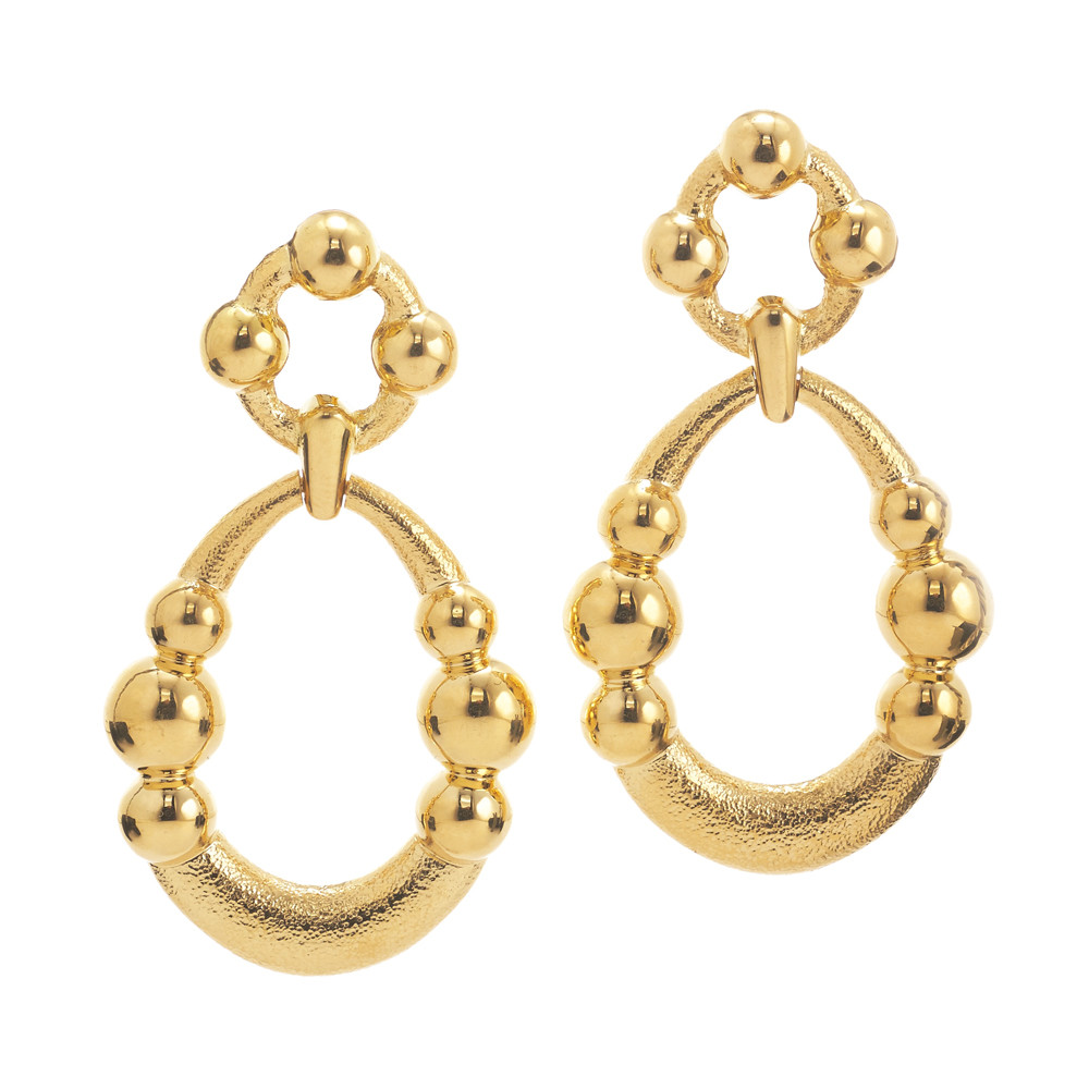Hammered & Polished 18k Gold Drop Earrings