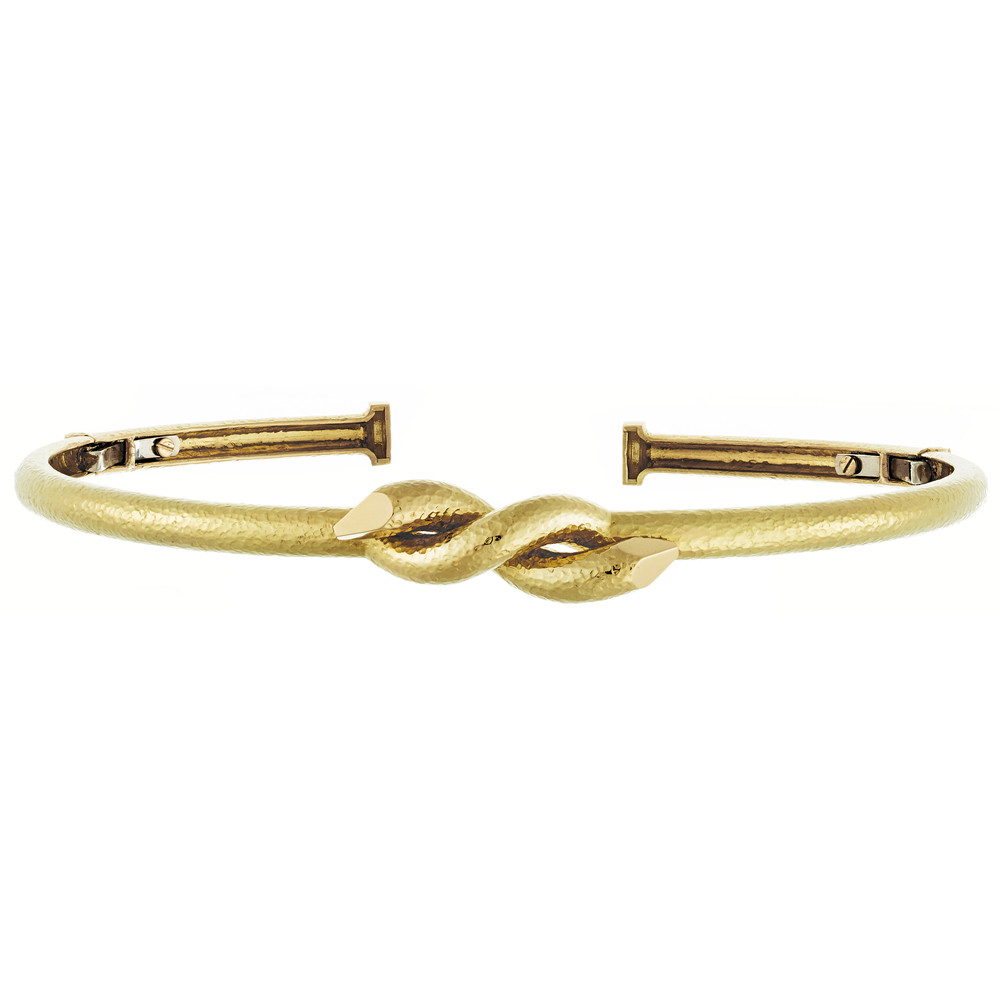 "Hammered 18k Yellow Gold ""Twisted Nail"" Collar Necklace"