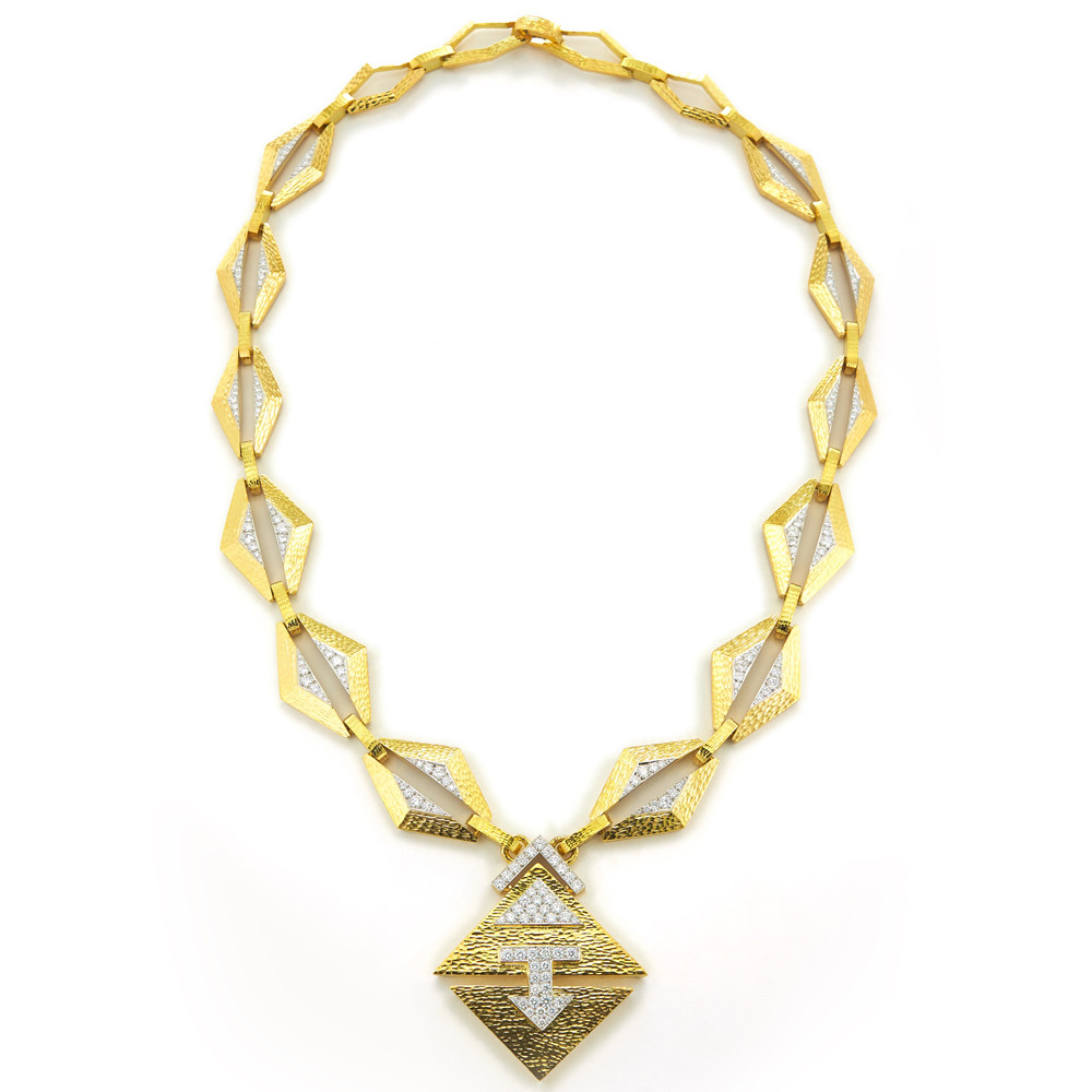 "Hammered 18k Gold & Diamond ""Madison"" Necklace"