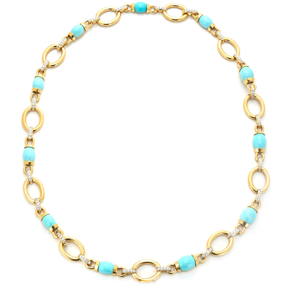 Couture 18k Gold, Turquoise & Diamond Necklace