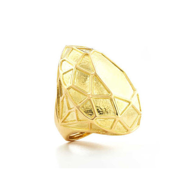 """18k Gold Pear-Shaped """"Solitaire"""" Cocktail Ring"""