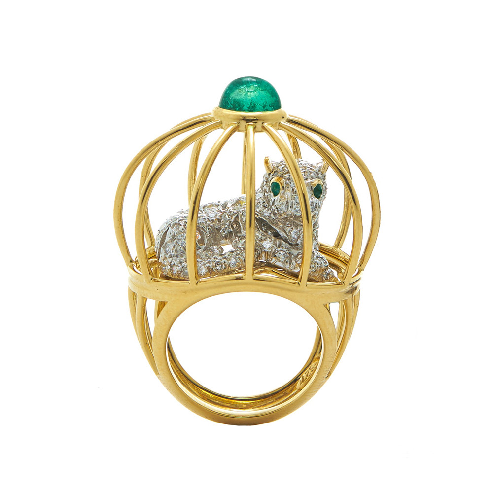 "Diamond & Emerald ""Cage"" Ring"