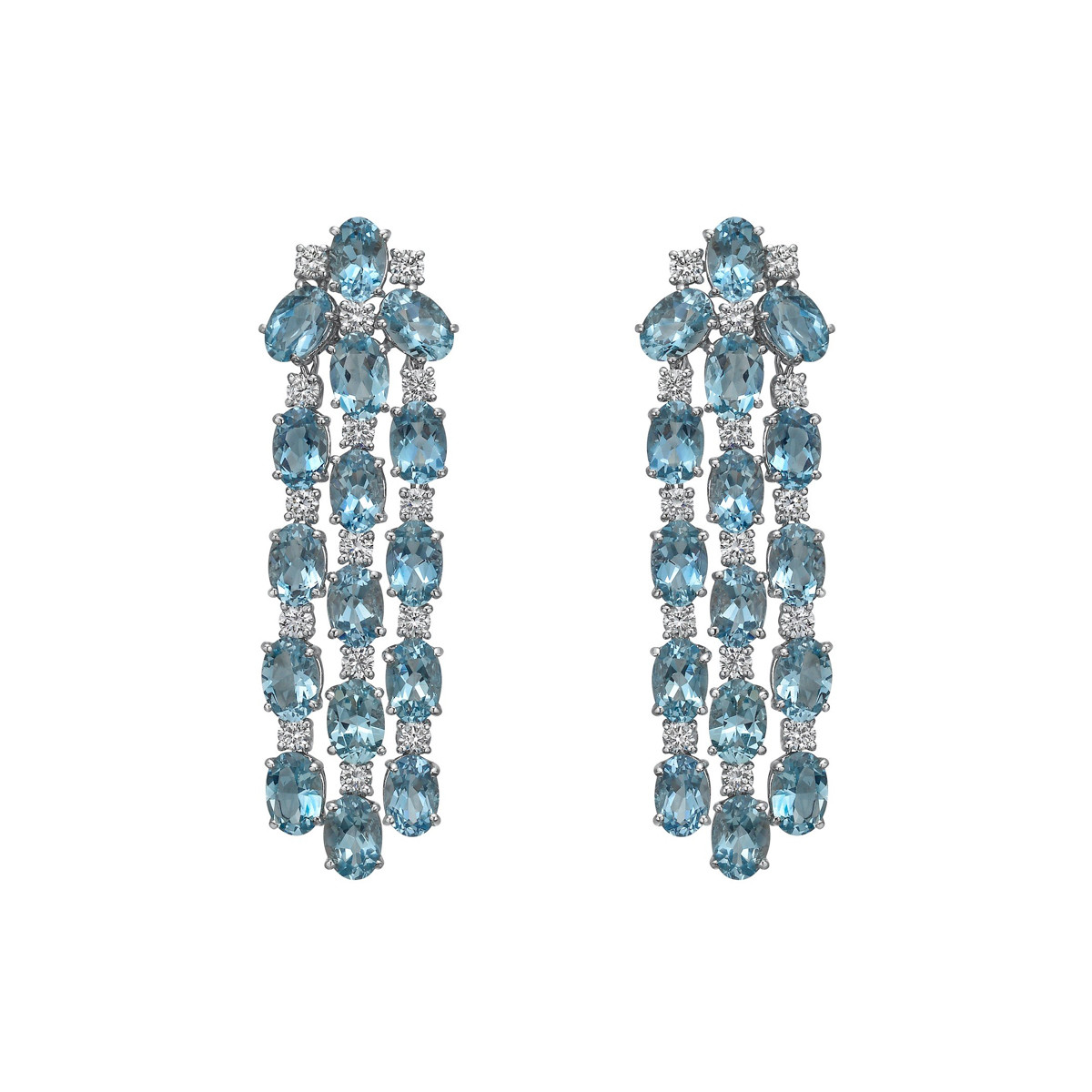 Aquamarine & Diamond Chandelier Earrings