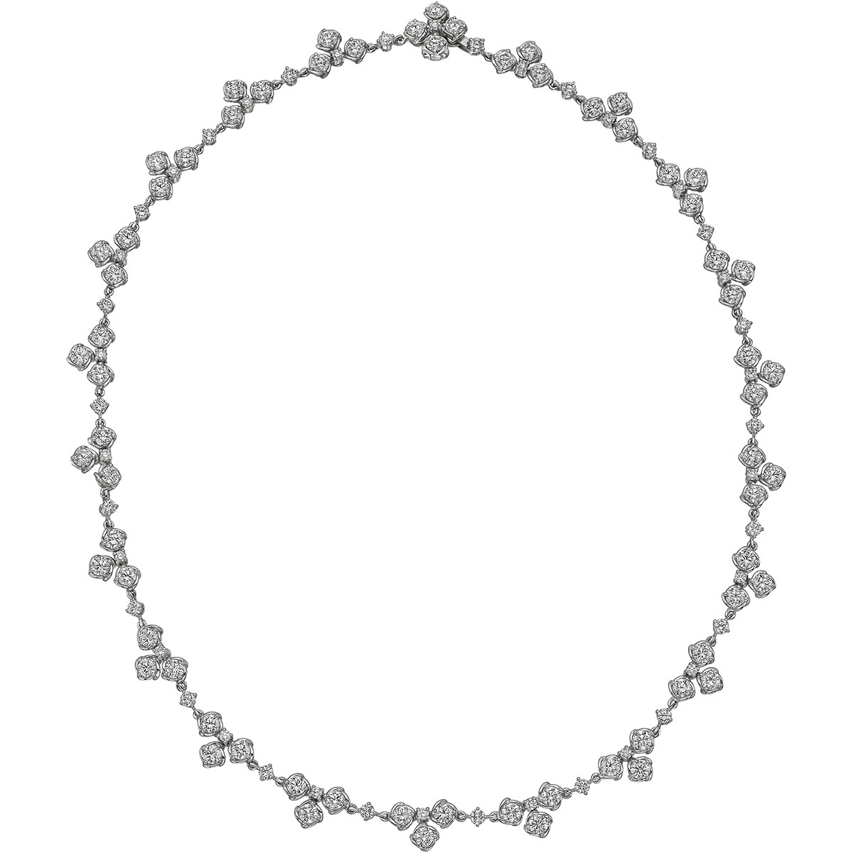 18k White Gold & Diamond Cluster Chain Necklace