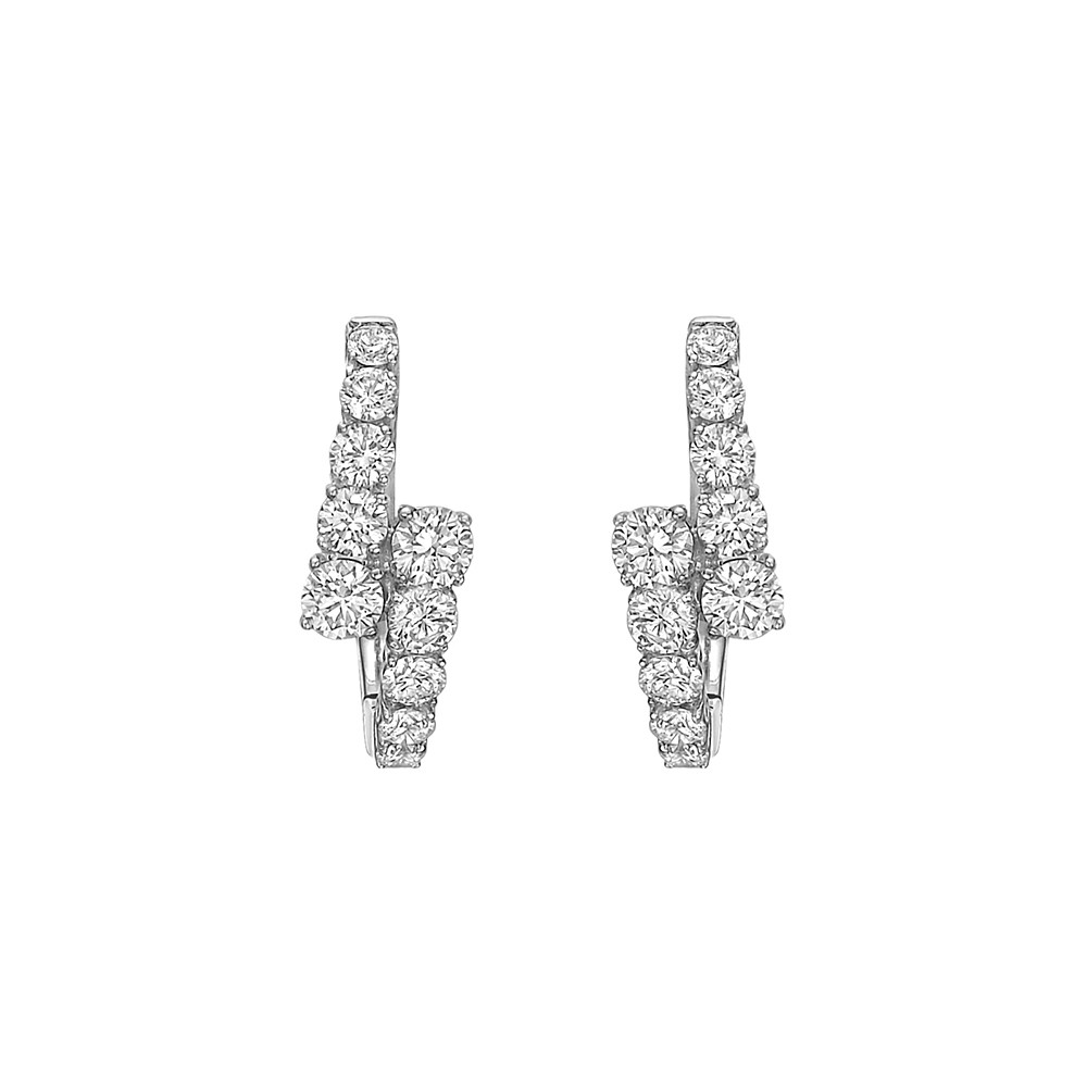 Small Diamond Crossover Hoop Earrings