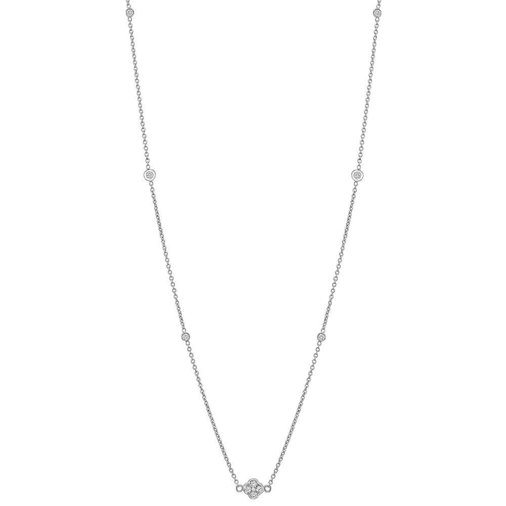 18k White Gold & Diamond Station Necklace