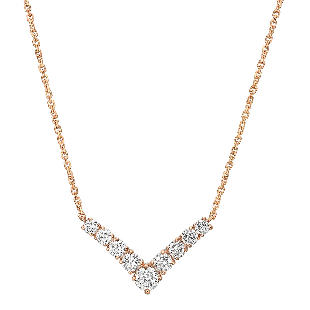 18k Rose Gold & Diamond 'V' Pendant Necklace