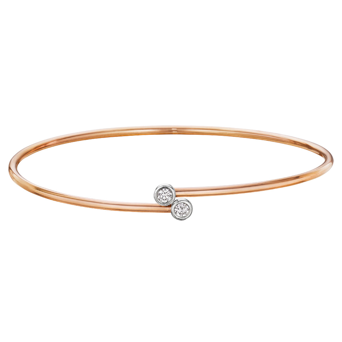 18k Rose Gold Twin Diamond Bypass Bangle