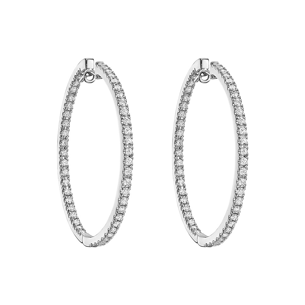 Large Diamond Hoop Earrings (1.55 ct tw)