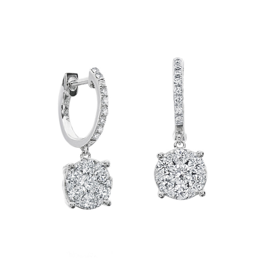Short Diamond Cluster Drop Hoop Earrings