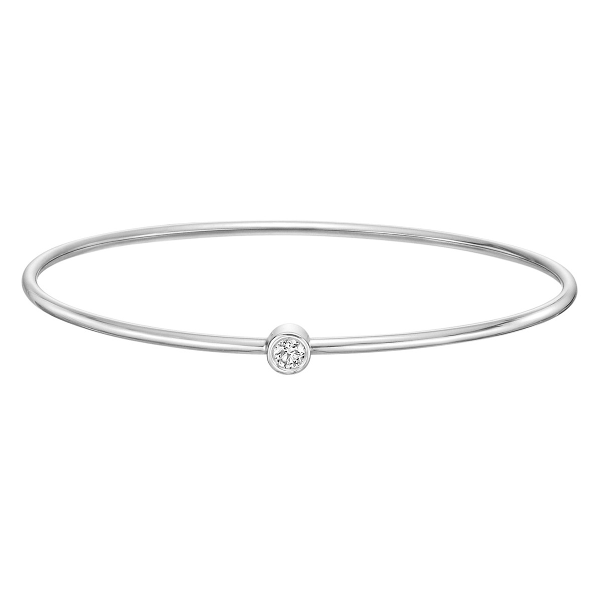 18k White Gold Single Diamond Twist Bangle