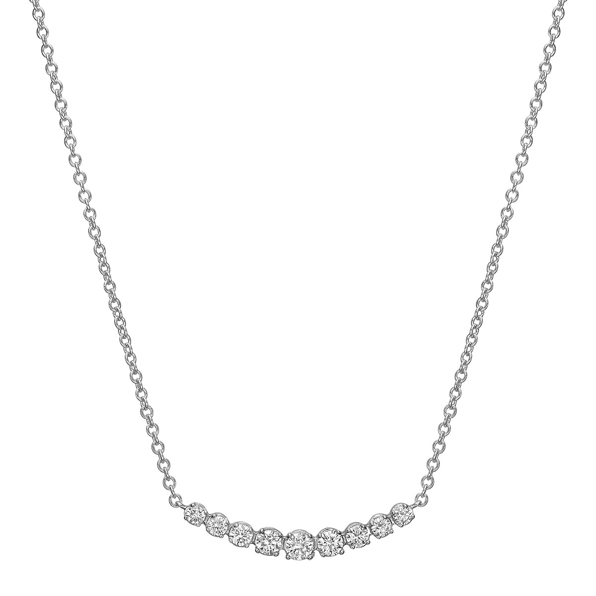 18k White Gold & Nine Diamond Curved Bar Pendant