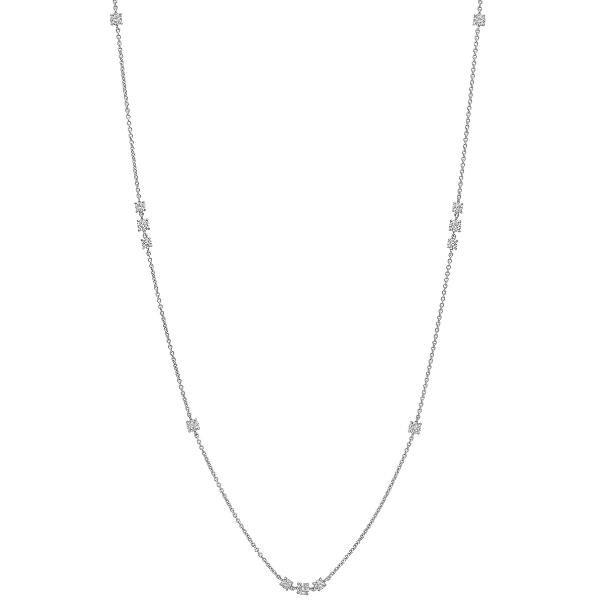 18k White Gold & Diamond Long Chain Necklace