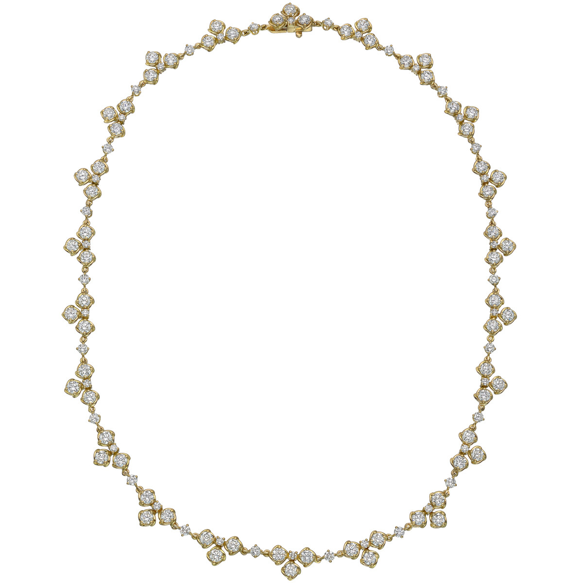 18k Yellow Gold & Diamond Cluster Necklace