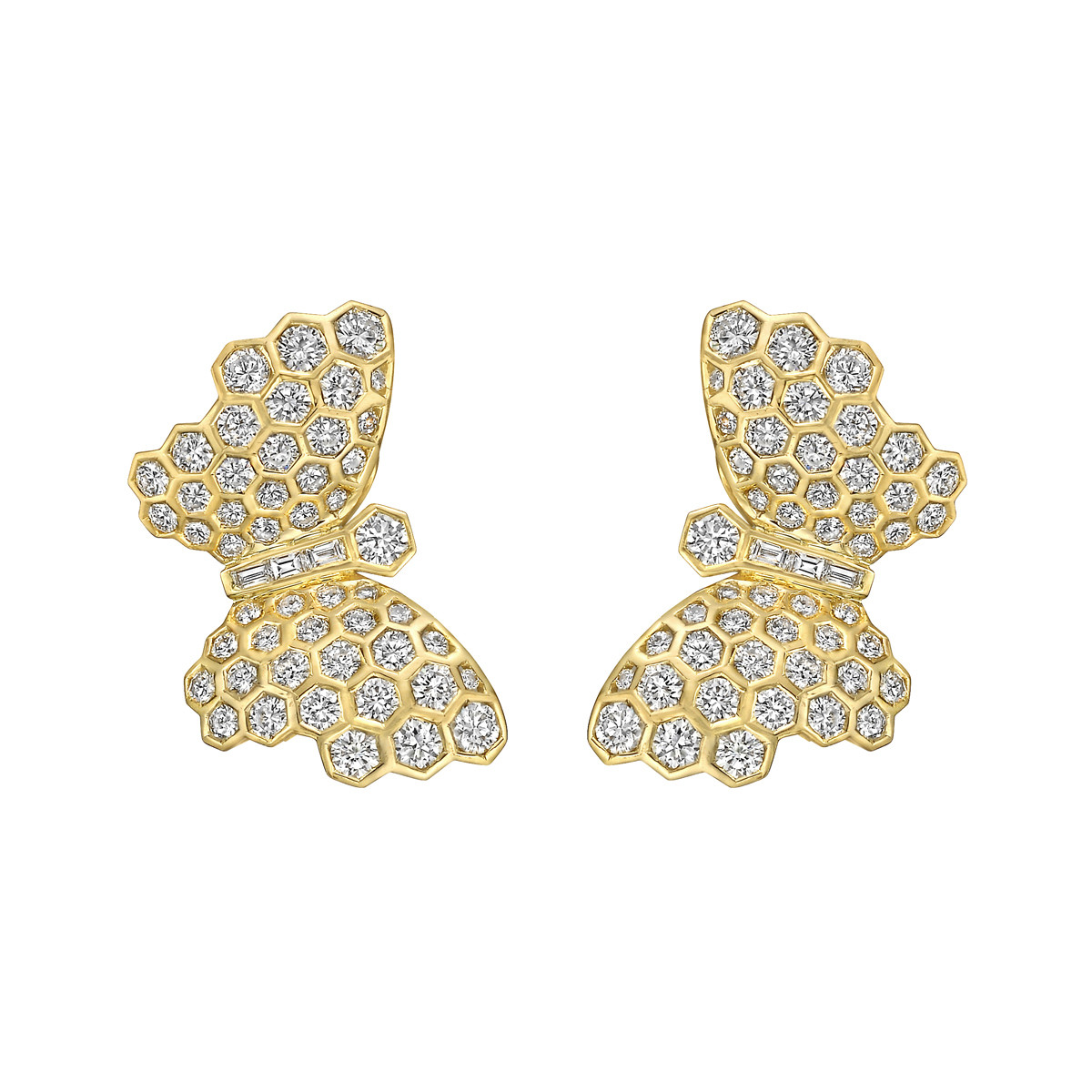 18k Yellow Gold & Diamond Butterfly Earrings