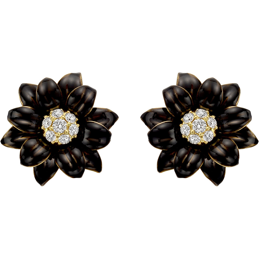 Black Enamel & Diamond Flower Earrings