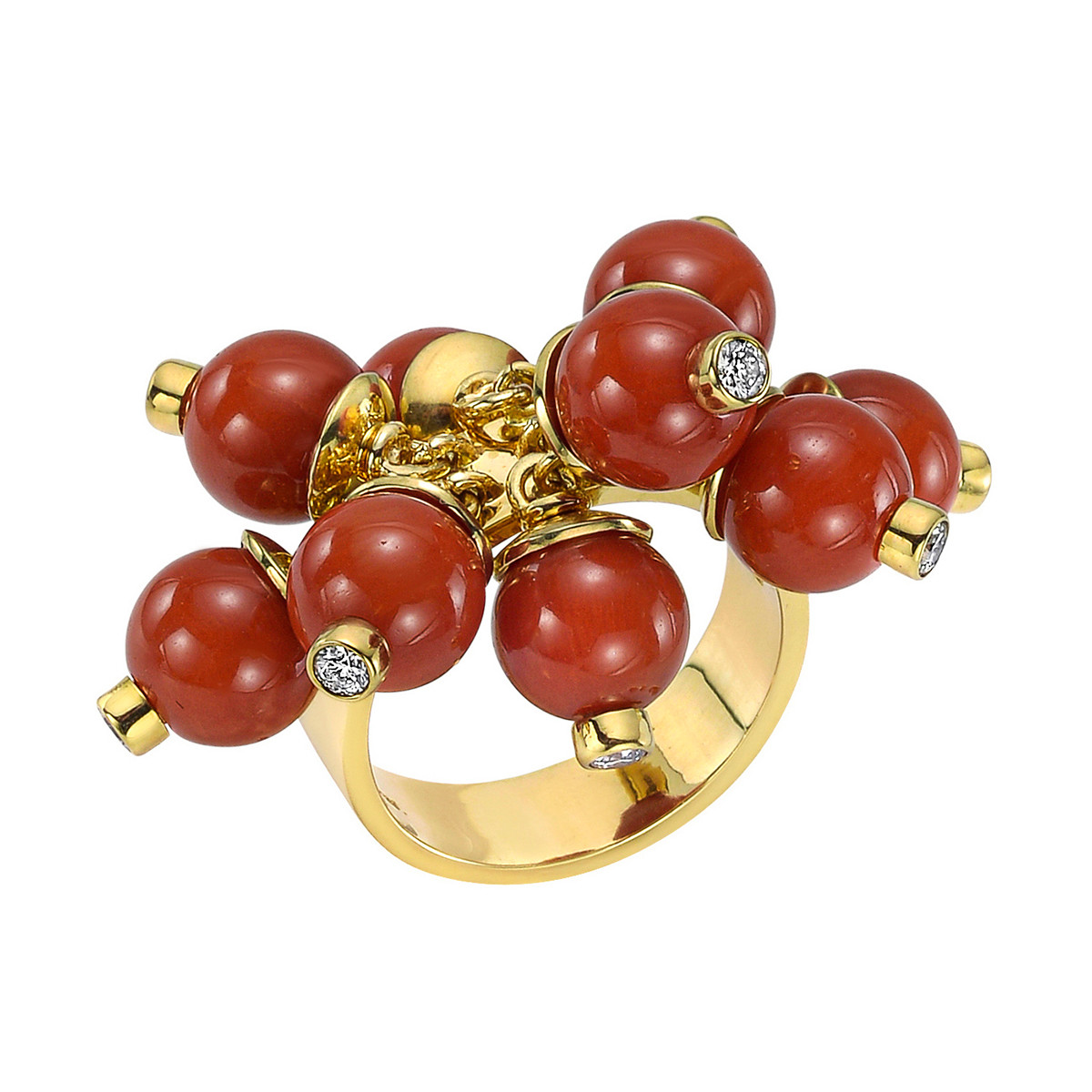 Coral Bead & Diamond 'Pom Pom' Ring