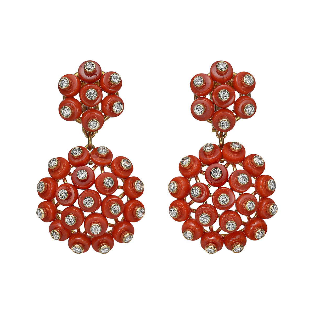 "Coral & Diamond ""Wheel"" Drop Earrings"
