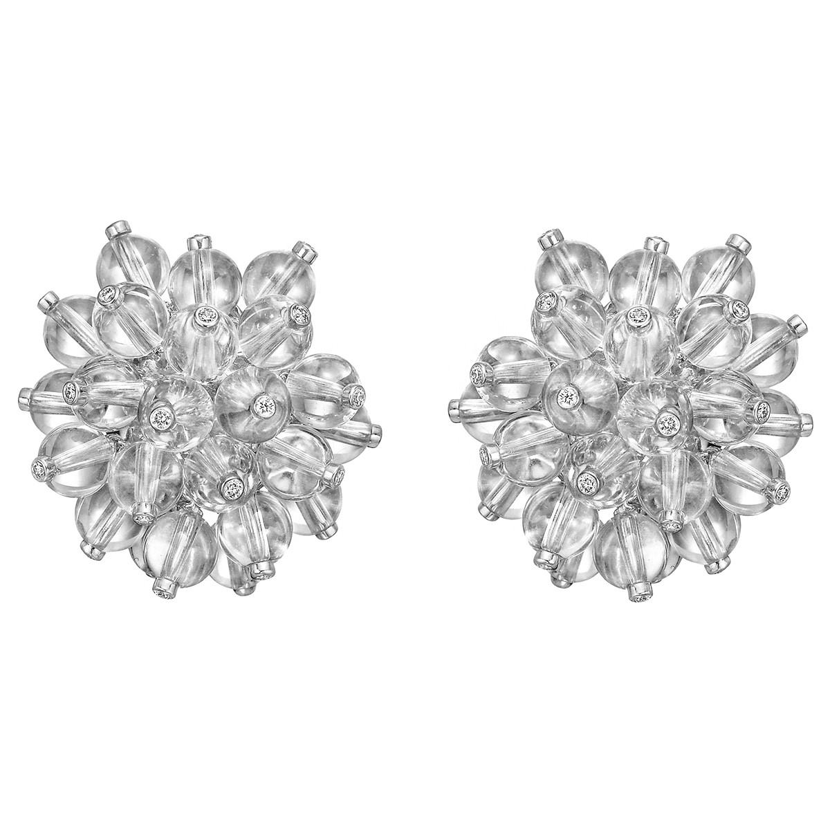 Rock Crystal & Diamond 'Burst' Earrings
