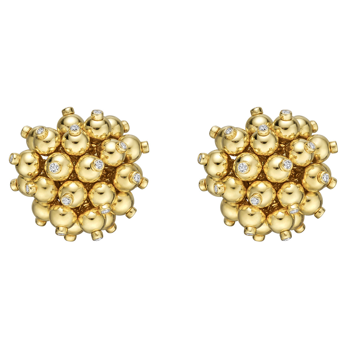 18k Yellow Gold & Diamond 'Sputnik' Earrings