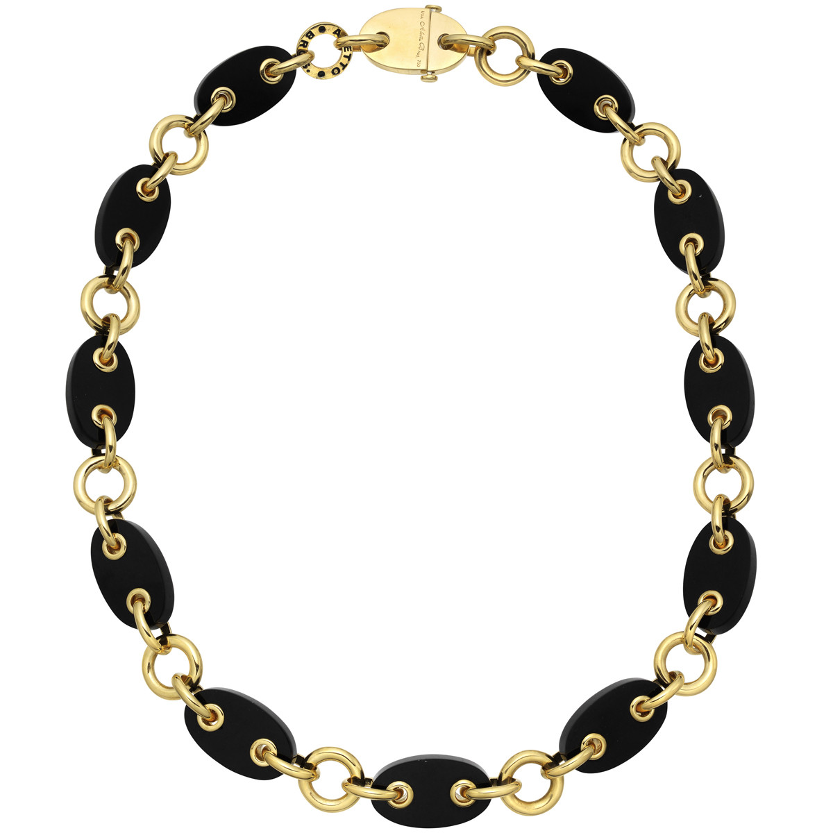 "18k Yellow Gold & Black Onyx ""Marine"" Necklace"