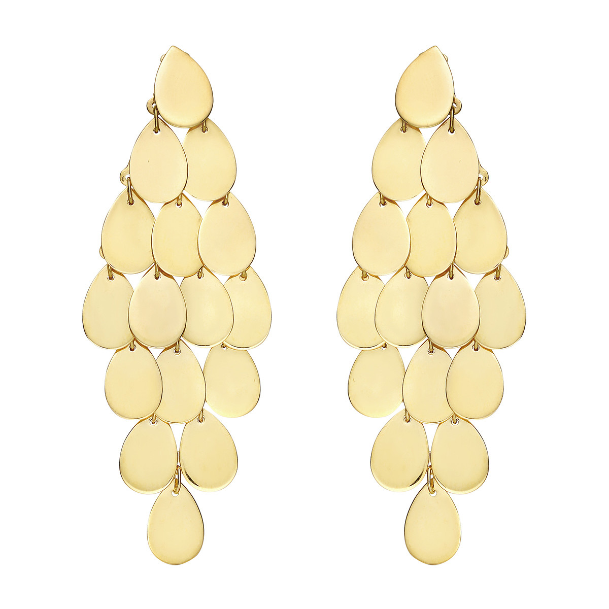 18k Yellow Gold Long Chandelier Drop Earrings