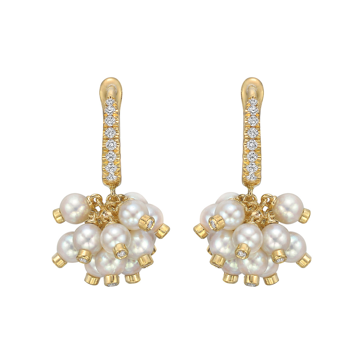 Pearl & Diamond Cluster Drop Earrings