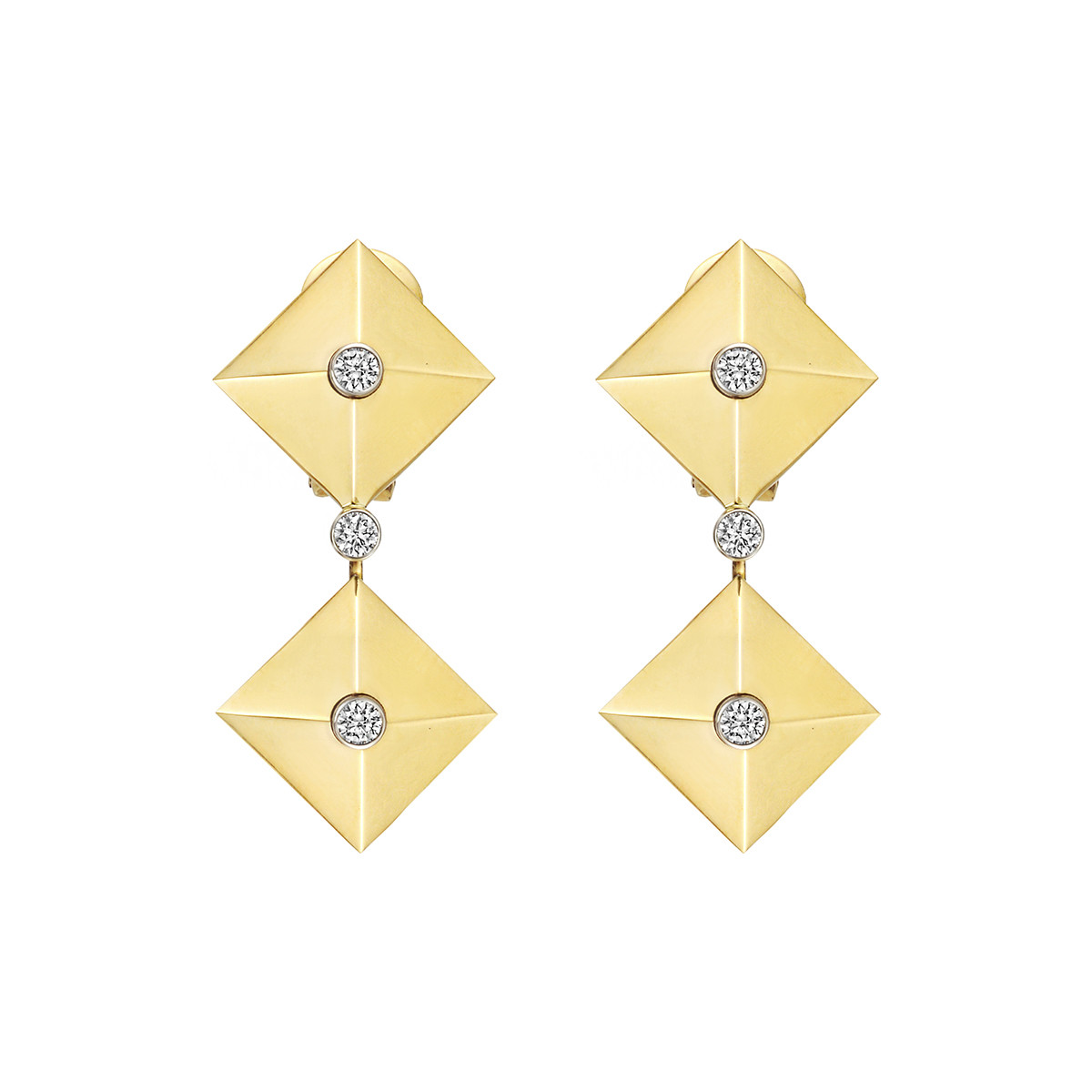 "18k Yellow Gold & Diamond ""Pyramid"" Drop Earrings"