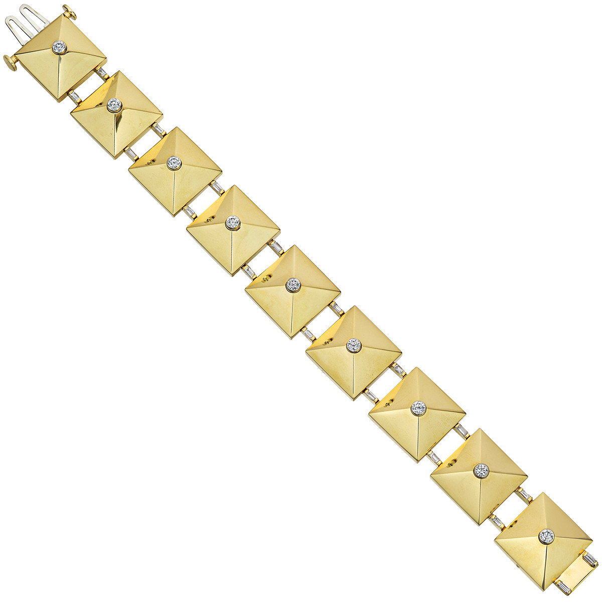"18k Yellow Gold & Diamond ""Pyramid"" Link Bracelet"