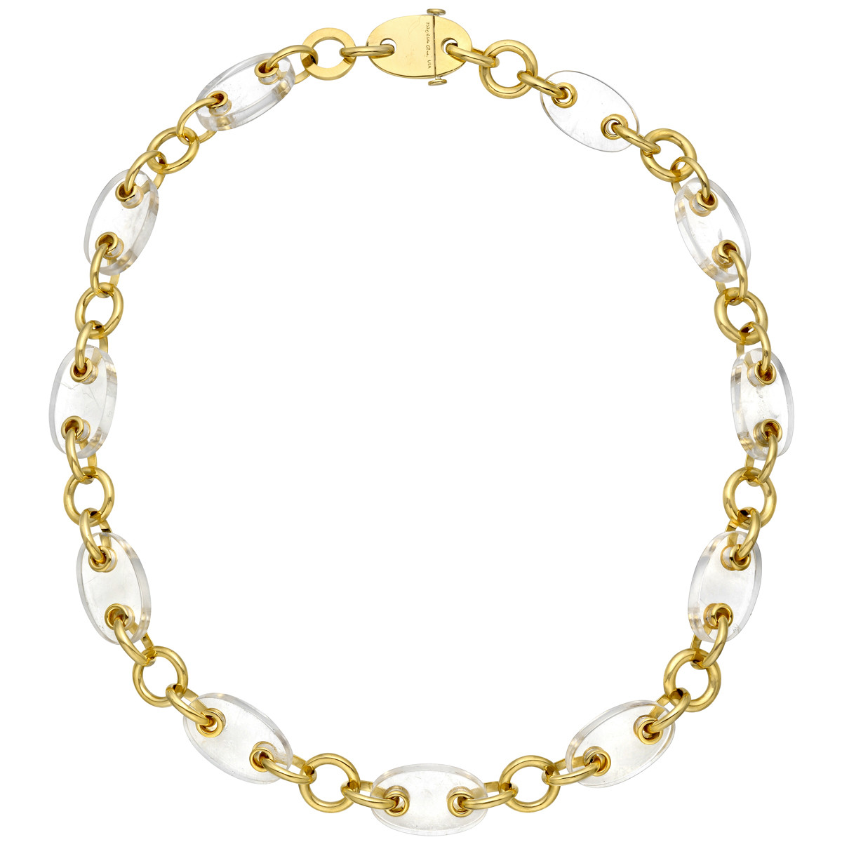 "18k Yellow Gold & Rock Crystal ""Marine"" Necklace"